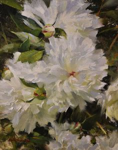 "Peonies by Steven Hileman Oil ~ 10"" x 8"""