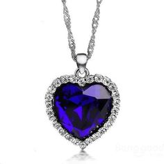 Silver Plated Crystal Ocean Heart Pendant Necklace