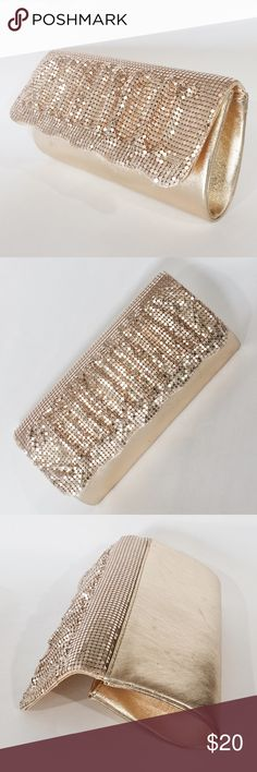 "NWOT Gold Glittering Evening Clutch Stand out style! Gold pleated chain metal, scalloped edge accented. Fully lined, one interior pocket, 36"" chain strap. Never carried. 8"" W x 4"" H x 1 3/4"" D Bags Clutches & Wristlets"
