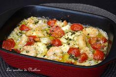 Ma cuisine au fil de mes idées...: Scampis à l'ail, feta et tomates cerise au…