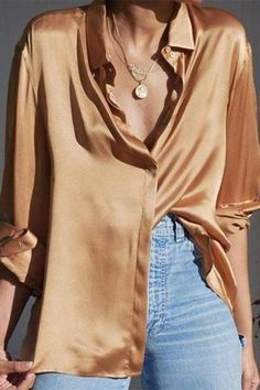 Sexy V Neck Long Sleeve Pure Color Blouse - Sexy V Neck Long Sleeve Pure Colour Blouse blouses for women,blouses for women chic,blouses for wom - Blouse Sexy, Work Blouse, Blouse Dress, Bluse Outfit, Shirt Outfit, Spring Look, Spring Wear, Summer Wear, Look Fashion
