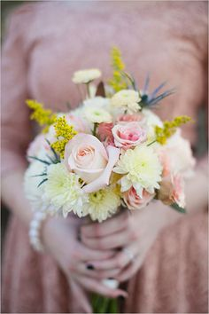 Whimsical Campground Wedding at the FFA Leadership Training Center photographed by Sarah Bray Photography Brooch Bouquets, Bride Bouquets, Bridesmaid Bouquet, Yellow Bouquets, Floral Bouquets, Floral Wreath, Campground Wedding, Alternative Bouquet, Pink Color
