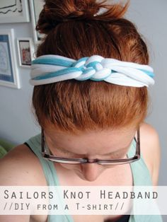 DIY: a sailor's knot headband from an old T-shirt // via The Thrifty Ginger
