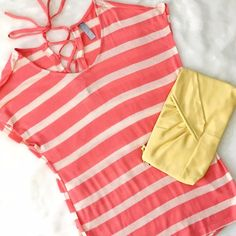 "AVAILABLE 6/10! Coral Striped Tee w/ Back Tie Lightweight summer knit, like a very fine sweater rather than a tee. Adorable lace up detail on the back, easy breezy warm weather style! Small: B 18"" L 26"" Med: B 19"" L 27"" Large: B 21"", L 28"" ChicBirdie Tops Tees - Short Sleeve"