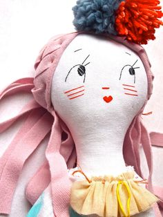 Rag doll cloth art doll white linen embroidered face Molly Dolly, Miss Mouse  Jess Quinn Small Art