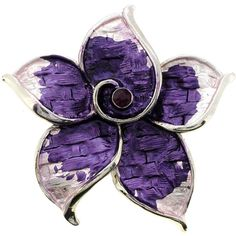 Silvertone Purple Crystal Flower Brooch ($12) ❤ liked on Polyvore featuring jewelry, brooches, flowers, purple, purple brooch, flower broach, blossom jewelry, floral brooch and flower pin brooch