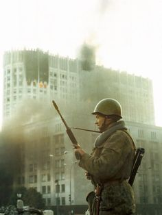 Moscow, coup d'etat of organized by president Yeltsin and his retinue. Burning building of russian Parliament. Military Coup, Military Police, Army, Nuclear War, Photo Report, History Photos, Medieval Fantasy, Constitution, Moscow