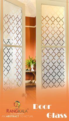 Simple and elegant look of the door design. Glass Design, Door Design, Temple Glass, Glass Door, Household, Doors, Traditional, Mirror, Abstract
