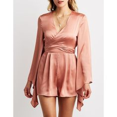 Charlotte Russe Surplice Bell Sleeve Romper ($20) ❤ liked on Polyvore featuring jumpsuits, rompers, mauve, red satin romper, surplice romper, red romper, sash belt and bell sleeve romper