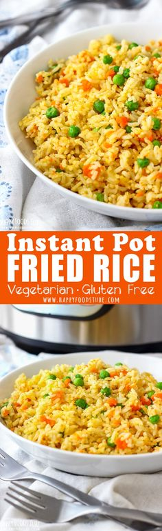 This Instant Pot Fried Rice is quick and easy pressure cooker recipe. Simple ingredients, easy preparation and great flavors. Healthy Instant Pot vegetarian fried rice. Gluten free. #instantpot #friedrice #pressurecooker #vegetarian #glutenfree #healthy via @happyfoodstube