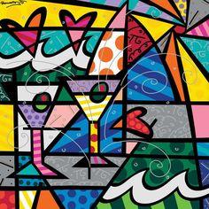Limited Edition Fine Art Print by the Brazilian Artist Romero Britto - Paris Art Web Pintura Graffiti, Graffiti Painting, Graffiti Art, Paris Kunst, Paris Art, Arte Pop, Martinis, Paint Paint, Art Gallery Wedding