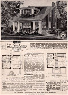 The Sunbeam plan presents a welcoming facade to the street but coyly placed stairs to the porch give it a more reserved aura. A shed dormer upstairs encloses the sleeping porch. The dining room and living room are well lit with windows on two sides. Craftsman Bungalow House Plans, Craftsman Porch, Craftsman Style Homes, Craftsman Bungalows, Sears Craftsman, American Craftsman, Craftsman Kitchen, Small House Plans, House Floor Plans