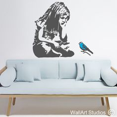 Bansky Blue Bird Little Girl wall art decal & Jack Sparrow Pirates of the Caribbean Decal | Wall Art Stickers and ...