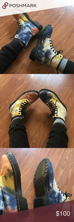 SEND OFFERS(: Dr martens castel boots Tie dye doc martens. Work only a handful of times. Practically perfect condition. Dr. Martens Shoes Combat & Moto Boots