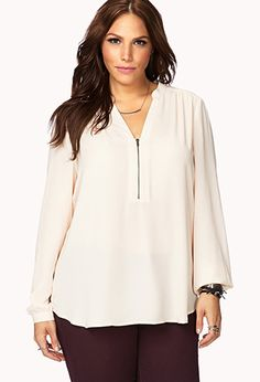 Dreamy Georgette Zippered Top   FOREVER21 PLUS - 2000051792