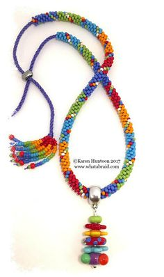 Kumihimo Color Block Brights Necklace Kit with Multi-Bead Focal & Adjustable Closure designed by ©Karen Huntoon 2017, Beaded Kumihimo Necklace, Kumihimo Necklace Kit
