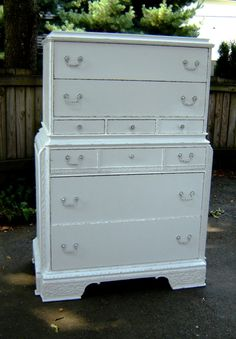Beautiful Vintage White Shabby Chic  Tall by seasidefurnitureshop, $395.00