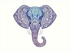 'Elephant mandala' Art Print by Gautamaa Mandalas Painting, Mandalas Drawing, Mandala Art, Large Prints, Framed Art Prints, Canvas Prints, Mehndi, Tattoo Espalda, Elephant India