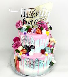 21st Cake For The Lovely Lady Laurzzsmith Featuring Glisteningoccasions Topper 21 Birthday
