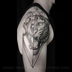 Speechless! @dasleitbild -  Tiger/Skull on Jackson via www.dasleitbild.com // #tigerskull #tigerface #splitface #geometrictattoo #triangle #blacktattoomag #theinkedlife #leitbild #blackworkers #blackworkerssubmission #blxckink #tattooartist #germany #ink #inked #artists #artwork #art #helloMRINK #tattoos #tattoo #blackwork #blxckink