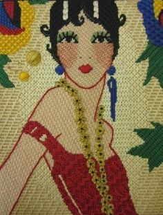 RSN ( Royal School of Needlework) Future Tutor Kate Barlow's Canvas Stitches, Flapper Girl.