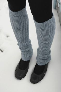 Gray Blue Leg Warmers  knitted in zigzac style by deliriumkredens