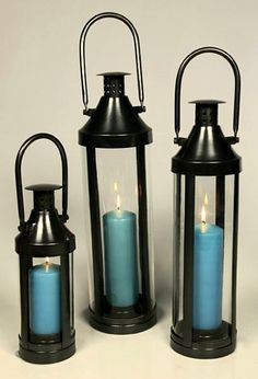 Large Gun Metal Candle Lanterns - Safe in the Home - Windproof Outdoors
