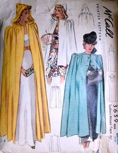 Vintage McCall 3659 Sewing Pattern, Misses' Hooded Cape Pattern, Size Small Bust, Rare Pattern 1940s Fashion, Fashion Sewing, Diy Fashion, Vintage Fashion, Vintage Dress Patterns, Clothing Patterns, Vintage Dresses, Vintage Outfits, Hooded Cape Pattern