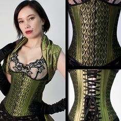 art deco peridot silk underbust corset..i love corsets! They are just so beautiful!