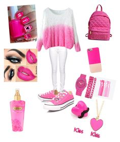 """pink"" by nicmarb on Polyvore featuring Citizen of Humanity, Converse, BaubleBar, Anne Klein and Victoria's Secret"
