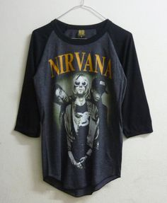 Raglan tshirt size S , L Nirvana shirt Alternative rock band men women t shirts Grey shirt