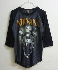 Raglan tshirt size S , L Nirvana shirt Alternative rock band men women t shirts Grey shirt