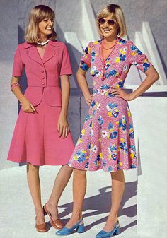 Two delightfully pink warm weather office wear looks from the mid-1970s. #retro #vintage #pink #dress #skirt #suit #women #fashion #seventies #1970s