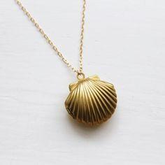 Seashell Locket Necklace, Jezie Jewelry