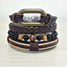 kIT 4 Pulseiras Masculinas Couro Pedras Onix Elo Corrente mens bracelets moda fashion leather homem style pulseirismo cocar brasil