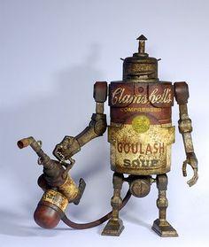Campbell soup steampunk robot.