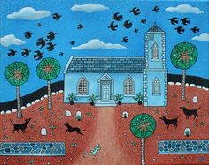 Carribean Church with Kling-Kling Birds  (acrylic on canvas) by Amanda White. www.amandawhite-contemporarynaiveart.com