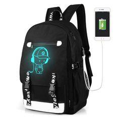 2be989e7271a USB Charging Backpack Men Luminous Canvas bag Male Animation Printing  School Bags black Music Escolar Large Travel bag XA9WC