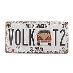 """Thinking Father's Day. 6""""x12"""" Vintage Feel Rustic Decor for Home, bathroom, den, bar, man cave. Vehicle License plate souvenir metal tin sign plaque.  Countries and states options. https://www.amazon.com/bathroom-Wall-Decor-Souvenir-VOLKSWAGEN/dp/B01JFNF2PU/ref=as_sl_pc_as_ss_li_til?tag=serendipityr-20&linkCode=w00&linkId=0e2e0df95b3157a825ec093354366067&creativeASIN=B01JFNF2PU"""