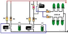 Rajz szakaszos 3 tranzisztorok és 6 LED-ek: