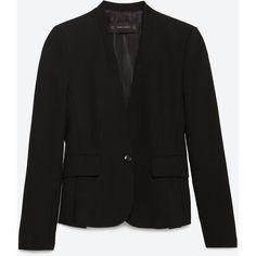 Zara Blazer With Pleated Hem ($100) ❤ liked on Polyvore featuring outerwear, jackets, blazers, black, lined jacket, black jacket, pleated jacket, black blazer and pleated blazer