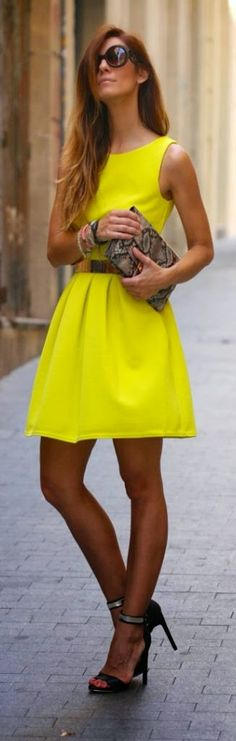 Bright Yellow Sleeveless Mini Dress with Clutch Pu...