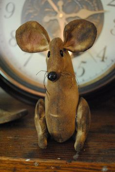 Primitive Stuffed Mouse with Perky Ears by BeaverBoutiquePrim, $8.00