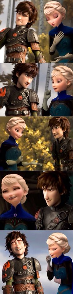 Hiccup and Elsa hanging out while Jack is out and Merida is out. They're just being friends.