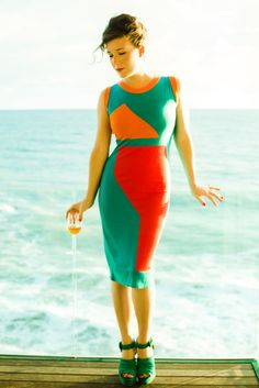 Eighties- style dress on Jamie Beck (From Me to You) in Miami