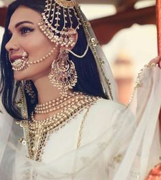 perfect finishing to a bridal look is given by stunning nose rings! Book the best makeup artist now with BookEventZ to get the perfect bridal look on THE DAY! Pakistani Bridal Jewelry, Indian Bridal Outfits, Pakistani Wedding Outfits, Bridal Jewellery, Pakistani Dresses, Nath Bridal, Bridal Sarees, Indian Jewelry, Bridal Looks