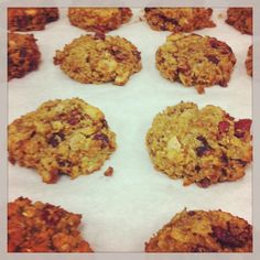 Tried and true!  Quinoa Breakfast Cookies.  Quinoa and oats are the grains.  I used half coconut oil and half applesauce and added cacao nibs and craisins.