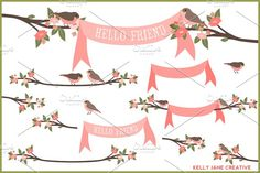 Birds, Branches & Banners Vector by Kelly Jane Creative on @creativemarket