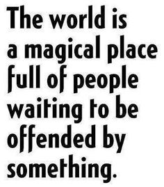 The world is a magical place full of people waiting to be offended by something. So true! And sassy