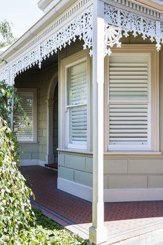 Timber Shutter in Phoenixwood – Silk White, Blade. Porches, Bungalow, Timber Windows, Pelmets, Custom Windows, Roman Blinds, Roller Blinds, Beautiful Space, Shutters